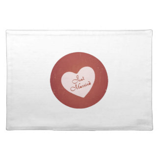 Vintage Retro Style Just Married On Antique Red Place Mat