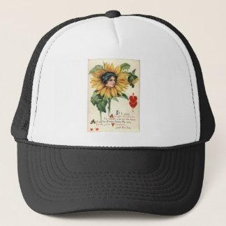 Vintage Retro Sunflower Valentine Card Trucker Hat