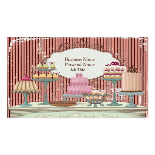 Vintage Retro Sweet Candy Bakery Bar Profile Card Business Card Templates