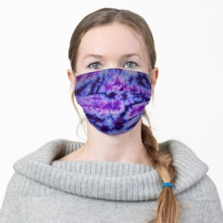 Vintage Retro Tie Dye in Shades of Blue and Purple Cloth Face Mask