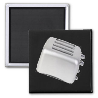 Vintage Retro Toaster Design - B&W Grey 2 Inch Square Magnet