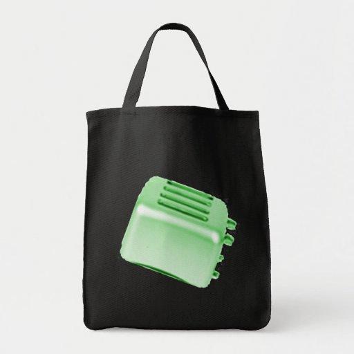 Vintage Retro Toaster Design - Green Canvas Bags