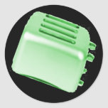 Vintage Retro Toaster Design - Green Round Stickers