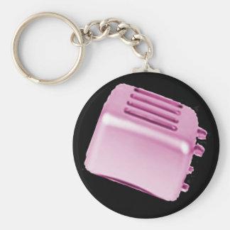Vintage Retro Toaster Design - Pink Keychain