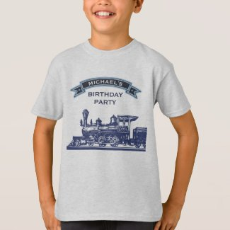 Vintage Retro Train Kids Birthday Party T-Shirt