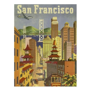 USA Themed Vintage retro travel poster San Francisco USA Postcard