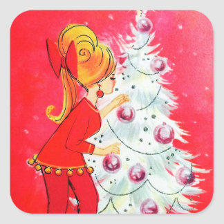Vintage retro tree decorating lady sticker