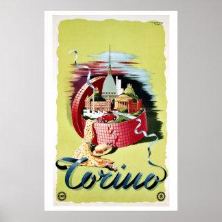 Vintage retro Turin Torino Italian  travel ad Poster