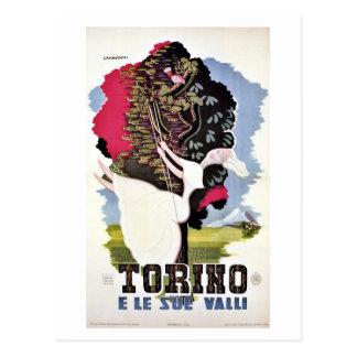Vintage retro Turin valleys Italian travel Post Card