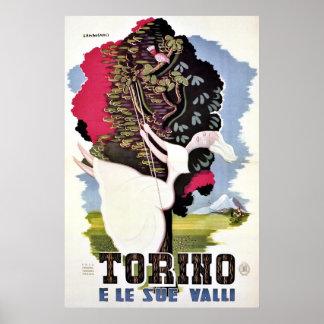 Vintage retro Turin valleys Italian travel Posters
