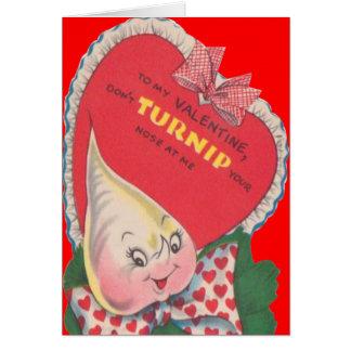 Vintage Retro Turnip Valentine Card