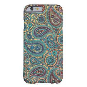 Vintage Retro Turquoise Rainbow Paisley motif Barely There iPhone 6 Case