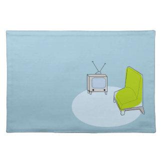 Vintage Retro TV & Chair Design Cloth Placemat