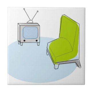 Vintage Retro TV & Chair Design Tile