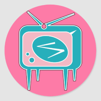 Vintage Retro TV Television Set Classic Round Sticker
