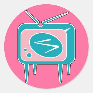 Vintage Retro TV Television Set Round Sticker
