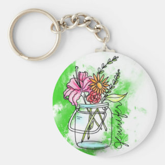 Vintage retro Unit of capacitance with flowers bus Keychain