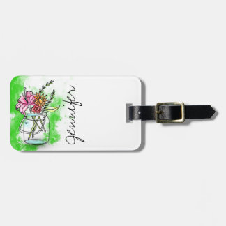 Vintage retro Unit of capacitance with flowers Luggage Tag