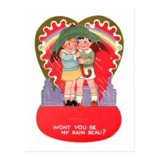 Vintage Retro Valentine Be My Rain Beau Postcard