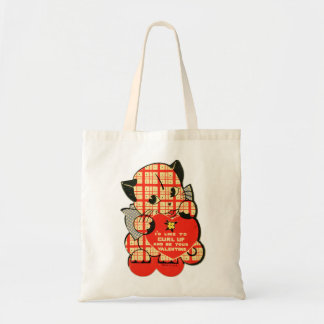 Vintage Retro Valentine Curl Up & Be My Valentine Canvas Bags