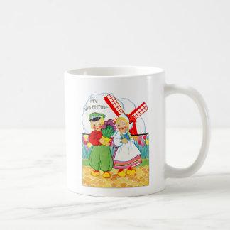 Vintage Retro Valentine Dutch Boy and Girl Classic White Coffee Mug