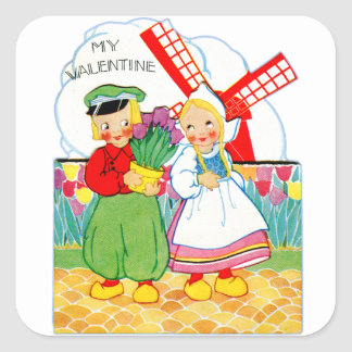 Vintage Retro Valentine Dutch Boy and Girl Square Sticker