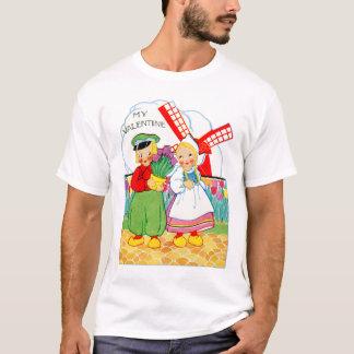 Vintage Retro Valentine Dutch Boy and Girl T-Shirt