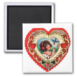 Vintage Retro Valentine Heart My Valentine Girl 2 Inch Square Magnet