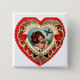 Vintage Retro Valentine Heart My Valentine Girl Button