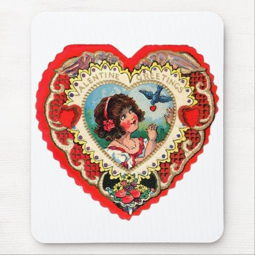 Vintage Retro Valentine Heart My Valentine Girl Mouse Pad
