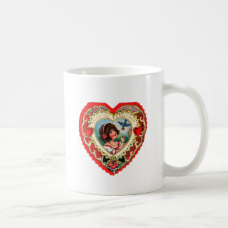 Vintage Retro Valentine Heart My Valentine Girl Classic White Coffee Mug