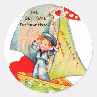 Vintage Retro Valentine I ve Set Sail For You Round Sticker