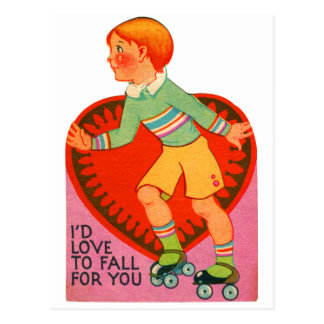 Vintage Retro Valentine I'd Love To Fall For You Postcard