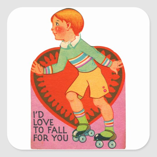 Vintage Retro Valentine I'd Love To Fall For You Square Sticker