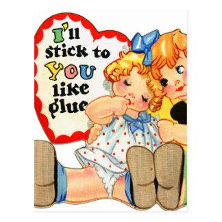 Vintage Retro Valentine I'll stick to you! Postcard