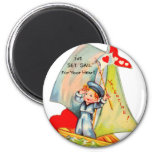 Vintage Retro Valentine I've Set Sail For You! 2 Inch Round Magnet