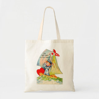Vintage Retro Valentine I've Set Sail For You! Tote Bags