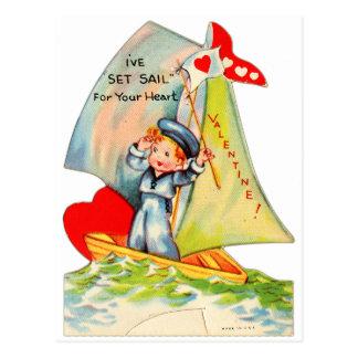 Vintage Retro Valentine I've Set Sail For You! Postcard