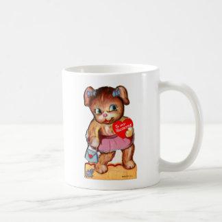 Vintage Retro Valentine Kitsch Bear Cub Classic White Coffee Mug