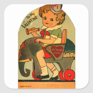 Vintage Retro Valentine Kitsch My Hobby Is You Square Sticker