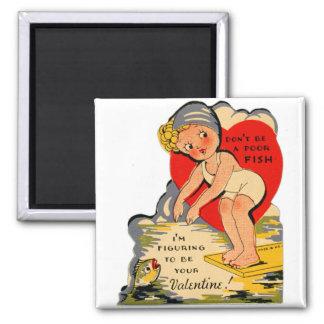 Vintage Retro Valentine Kitsch Poor Fish Girl 2 Inch Square Magnet