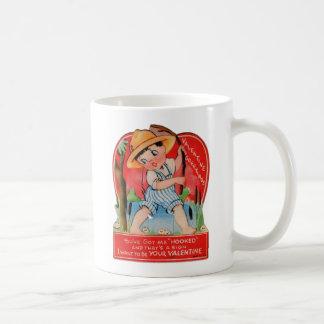 Vintage Retro Valentine Kitsch You Got Me Hooked Classic White Coffee Mug