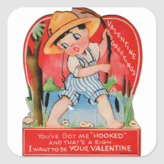Vintage Retro Valentine Kitsch You Got Me Hooked Square Sticker