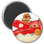 Vintage Retro Valentine Top Of The World Airplane 2 Inch Round Magnet