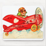 Vintage Retro Valentine Top Of The World Airplane Mousepads
