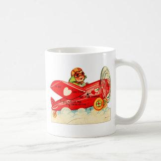 Vintage Retro Valentine Top Of The World Airplane Classic White Coffee Mug