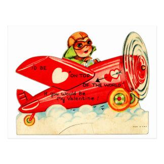 Vintage Retro Valentine Top Of The World Airplane Postcard