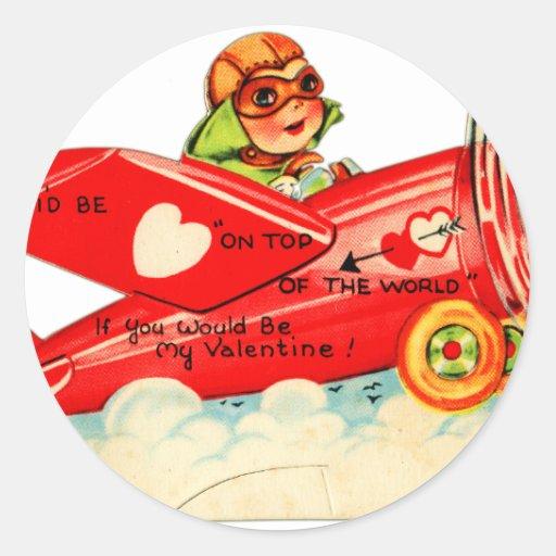 Vintage Retro Valentine Top Of The World Airplane Round Sticker