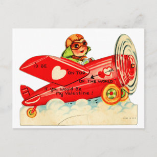 Vintage Retro Valentine Top Of The World Airplane Holiday Postcard