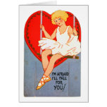 Vintage Retro Valentine Trapeze I'll Fall for You Greeting Card